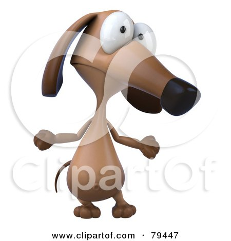Royalty-Free (RF) Clipart Illustration of a 3d Brown Pookie Wiener Dog Character Shrugging by Julos