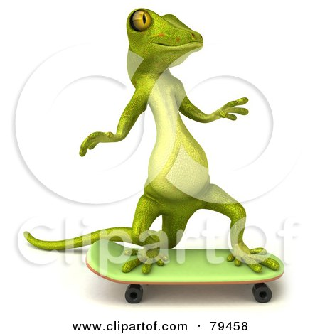 Royalty-Free (RF) Clipart Illustration of a 3d Pico Gecko Character Skateboarding - Version 2 by Julos