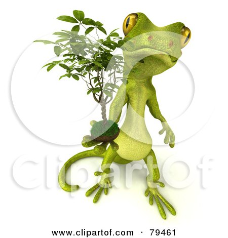 Royalty-Free (RF) Clipart Illustration of a 3d Pico Gecko Character Holding A Ficus by Julos