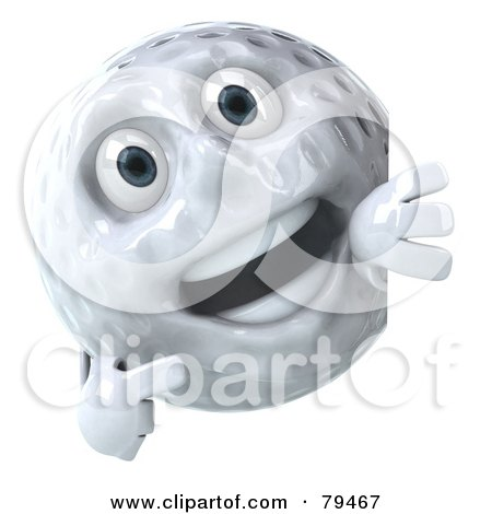 Royalty-Free (RF) Clipart Illustration of a 3d Golfball Character Pointing At A Blank Sign Board by Julos
