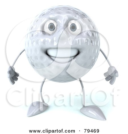 Royalty-Free (RF) Clipart Illustration of a 3d Golf Ball Character Facing Front by Julos
