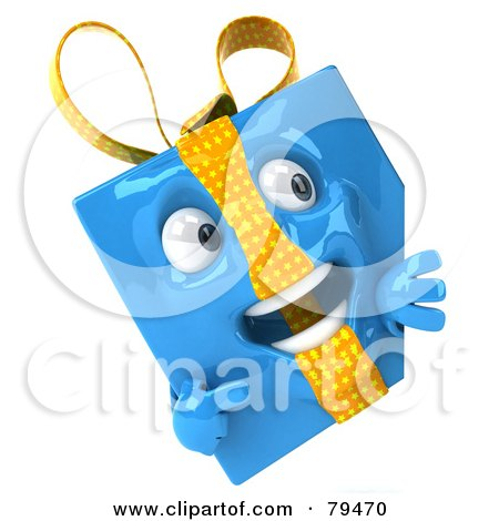 Royalty-Free (RF) Clipart Illustration of a 3d Blue Present Character Pointing To A Blank Sign Board by Julos