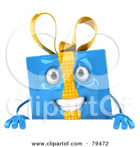 Royalty-Free (RF) Clipart Illustration of a 3d Blue Present Character Holding A Blank Sign Board by Julos