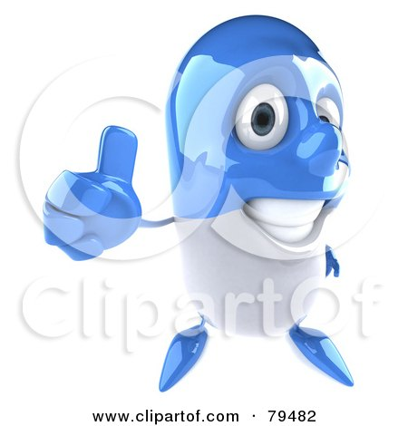 Royalty-Free (RF) Clipart Illustration of a 3d Blue Pill Character Holding A Thumb Up by Julos