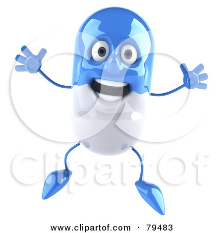 Royalty-Free (RF) Clipart Illustration of a 3d Blue Pill Character Jumping by Julos