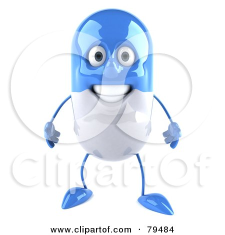 Royalty-Free (RF) Clipart Illustration of a 3d Blue Pill Character Facing Front by Julos