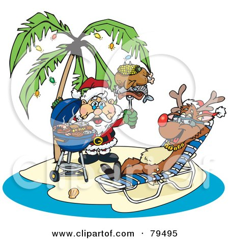 Royalty-Free (RF) Clipart Illustration of Santa Grilling Food For Rudolph On A Tropical Christmas Island by Dennis Holmes Designs
