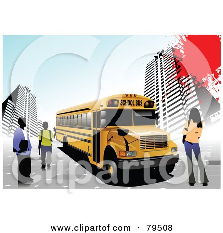Royalty-Free (RF) Clipart Illustration of Urban Students Standing By A School Bus, With A Red Splatter by leonid