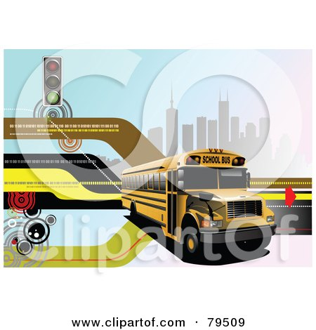 Modern Back To School Background With Binary Code, Street Lights, Buildings And A School Bus Posters, Art Prints