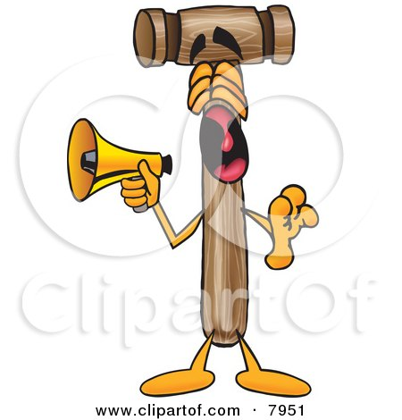 Clipart Picture of a Mallet Mascot Cartoon Character Screaming Into a Megaphone by Toons4Biz