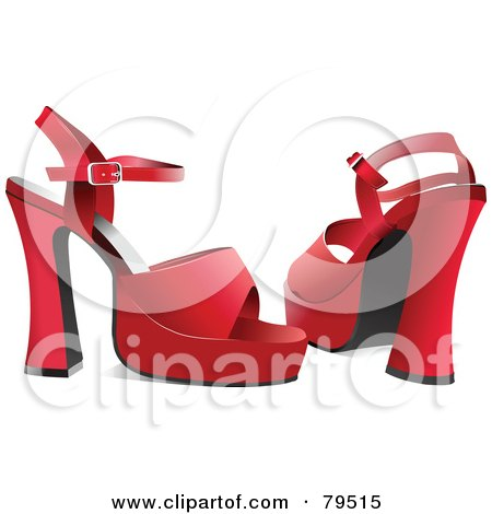 Royalty-Free (RF) Clipart Illustration of a Pair Of Red Chunky High Heel Shoes by leonid