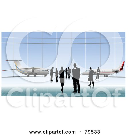Royalty-Free (RF) Clipart Illustration of Business People Standing In Front Of Planes by leonid