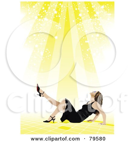 Royalty-Free (RF) Clipart Illustration of a Yellow Starry Light Shining Down On A Woman In Heels And A Black Dress by leonid