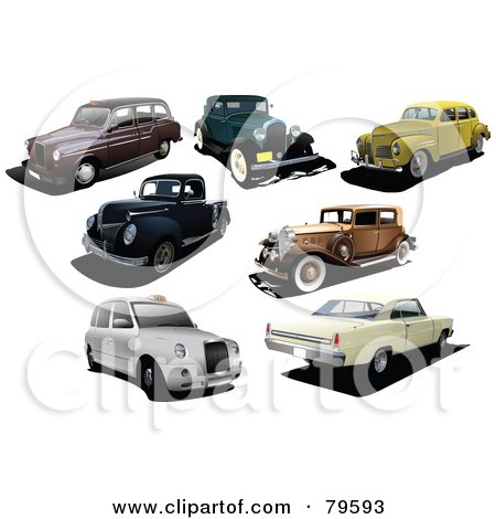 Royalty-Free (RF) Clipart Illustration of a Digital Collage Of Seven Vintage And Classic Cars by leonid