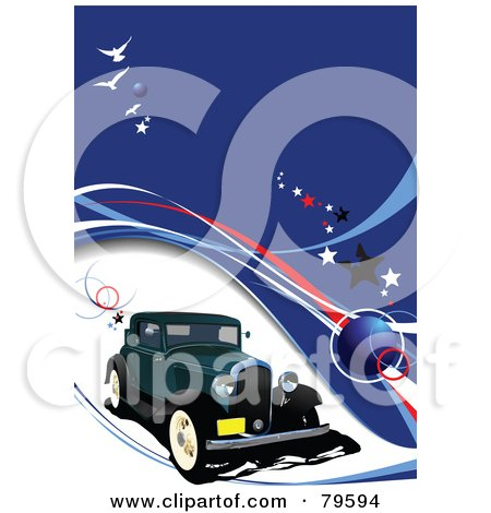 Royalty-Free (RF) Clipart Illustration of a Vintage Car Background With Waves And Stars On Blue by leonid
