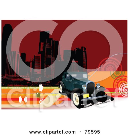 Royalty-Free (RF) Clipart Illustration of a Vintage Car Background With Arrows, Swirls, Lines And City Buildings On Red by leonid