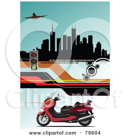 Royalty-Free (RF) Clipart Illustration of a Red Motorcycle On A Blue Background With Roads, Stop Lights, An Airplane And Buildings by leonid