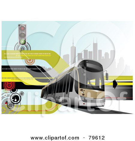Royalty-Free (RF) Clipart Illustration of a Modern City Bus Background With Retro Lines, Binary, Buildings And A Street Light by leonid