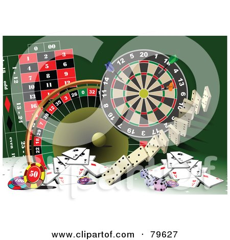 Royalty-Free (RF) Clipart Illustration of a Green Background With Casino Games And Cards by leonid