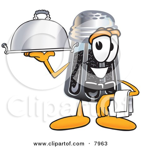 Clipart Picture of a Pepper Shaker Mascot Cartoon Character Dressed as a Waiter and Holding a Serving Platter by Toons4Biz