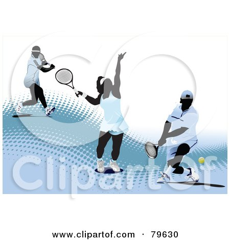 Royalty-Free (RF) Clipart Illustration of a Sports Background Of A Male And Female Tennis Players On A Blue Halftone Hill Over White by leonid