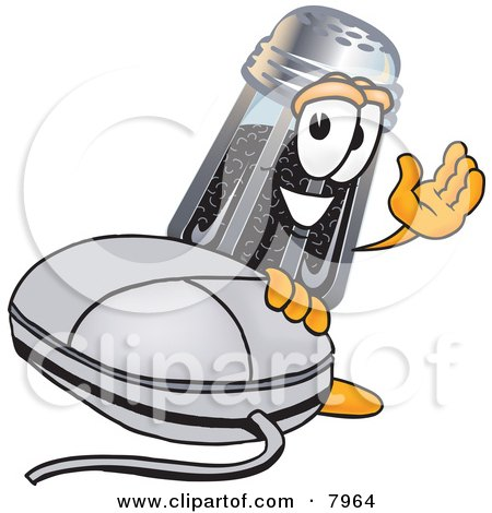 Clipart Picture of a Pepper Shaker Mascot Cartoon Character With a Computer Mouse by Toons4Biz