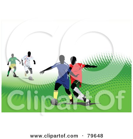 Sports Background Of A Soccer Game On A Green Halftone Hill Over White Posters, Art Prints