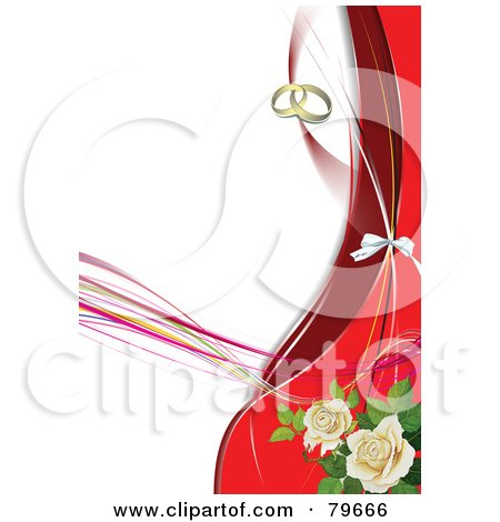 Wedding Background With Gold Rings Red Waves And White Roses by Leonid