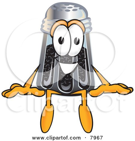 Clipart Picture of a Pepper Shaker Mascot Cartoon Character Sitting by Toons4Biz