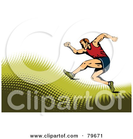 Royalty-Free (RF) Clipart Illustration of a Sports Background Of A Male Runner On A Green Halftone Hill Over White. by leonid