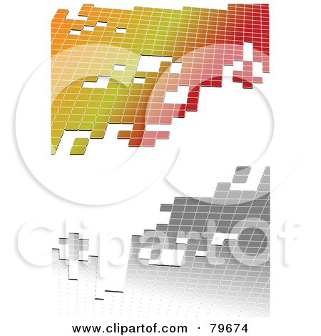 Royalty-Free (RF) Clipart Illustration of a White Background With Silver And Gradient Tiles by leonid