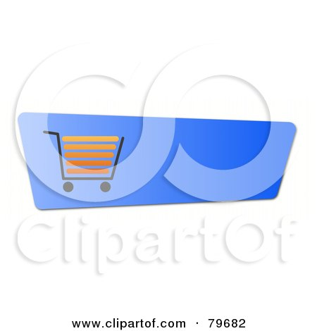 Royalty-Free (RF) Clipart Illustration of an Orange Shopping Cart On A Blue Checkout Website Button by oboy