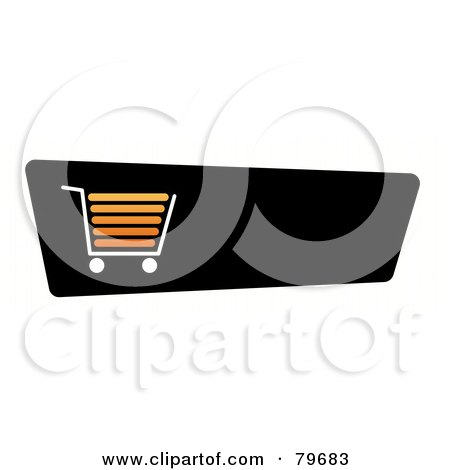 Royalty-Free (RF) Clip Art Illustration of an Orange Shopping Cart On A Black Checkout Website Button by oboy