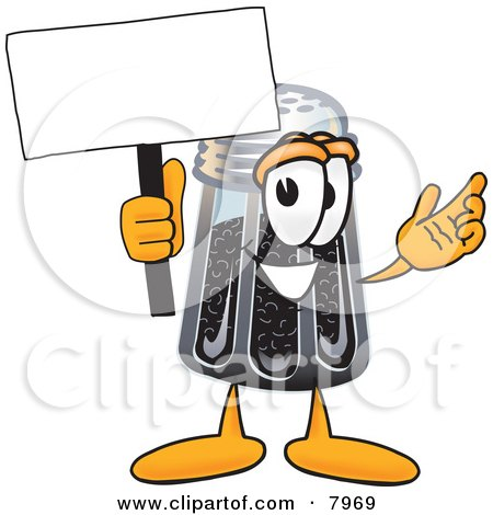 Clipart Picture of a Pepper Shaker Mascot Cartoon Character Holding a Blank Sign by Toons4Biz