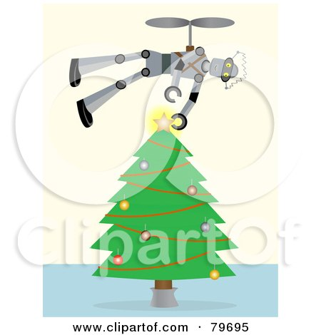 Royalty-Free (RF) Clipart Illustration of a Flying Robot Putting The Star Topper On A Trimmed Christmas Tree by mheld