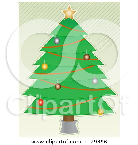 Royalty-Free (RF) Clipart Illustration of a Trimmed Christmas Tree Over A White Background With Diagonal Green Stripes by mheld