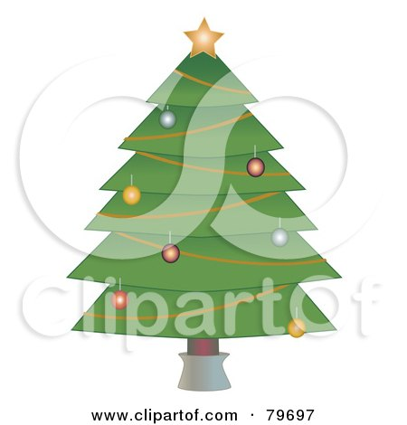 Royalty-Free (RF) Clipart Illustration of a Trimmed Christmas Tree On A White Background by mheld
