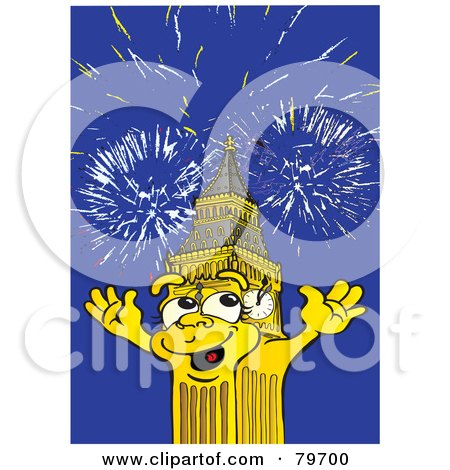 Royalty-Free (RF) Stock Illustration of Big Ben The Clock Tower Under Fireworks by Snowy