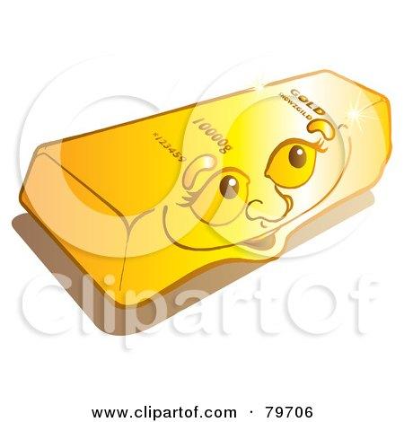 Royalty-Free (RF) Stock Illustration of a Happy Shiny Gold Bullion Bar Face by Snowy