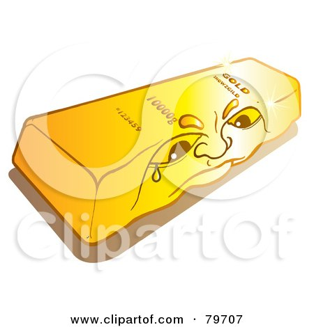 Royalty-Free (RF) Stock Illustration of a Sad Shiny Gold Bullion Bar Face by Snowy