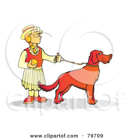 Royalty-Free (RF) Stock Illustration of a Blond Woman Holding The Leash To Her Setter Dog by Snowy