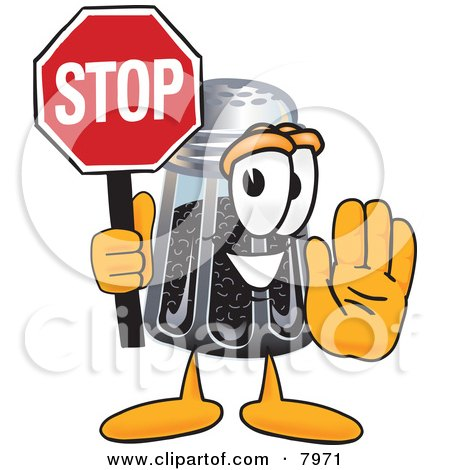Clipart Picture of a Pepper Shaker Mascot Cartoon Character Holding a Stop Sign by Toons4Biz