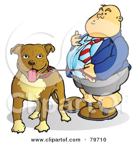 Royalty-Free (RF) Stock Illustration of a Fat Man Standing With His Leashed Pit Bull Dog by Snowy