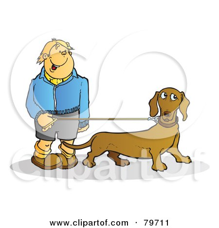 Royalty-Free (RF) Stock Illustration of a Happy Young Man Walking His Wiener Dog by Snowy