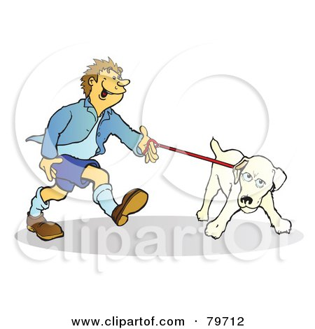 Royalty-Free (RF) Stock Illustration of a Stubborn Jack Russell Terrier Dog Pulling His Master On The Leash by Snowy