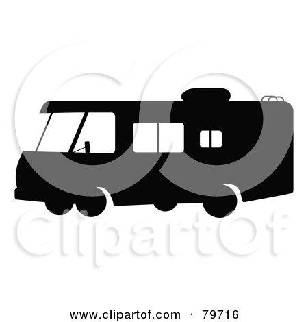 Royalty-Free (RF) Clipart Illustration of a Black And White Motorhome With Big Windows - Version 1 by JR