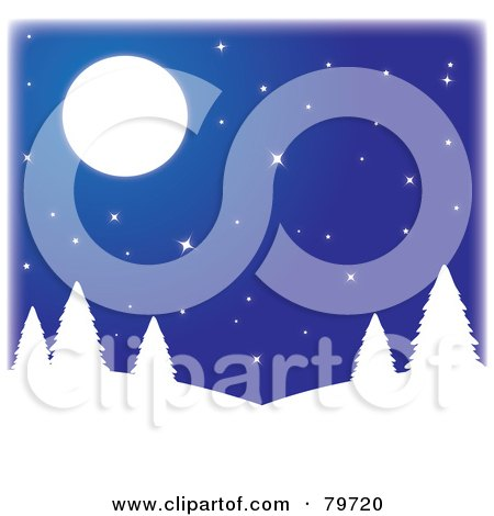 Royalty-Free (RF) Stock Illustration of White Silhouetted Trees On Hills, Under A Starry Blue Sky With A Full Moon by Rosie Piter