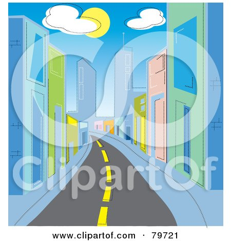 Royalty-Free (RF) Stock Illustration of a Deserted Street Leading Through A City With Colorful Buildings Under Clouds And The Sun by Rosie Piter