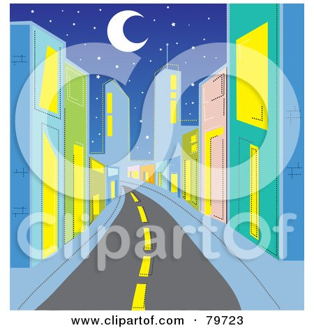 Royalty-Free (RF) Stock Illustration of a Deserted Street Leading Through A City With Colorful Buildings Under A Crescent Moon And Stars by Rosie Piter