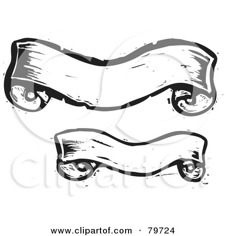 Royalty-Free (RF) Clipart Illustration of a Digital Collage Of Two Black And White Carved Banners by xunantunich